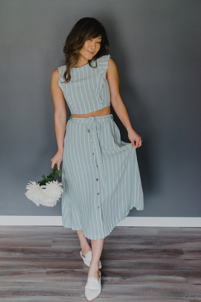 Mint to Be Striped Midi Skirt