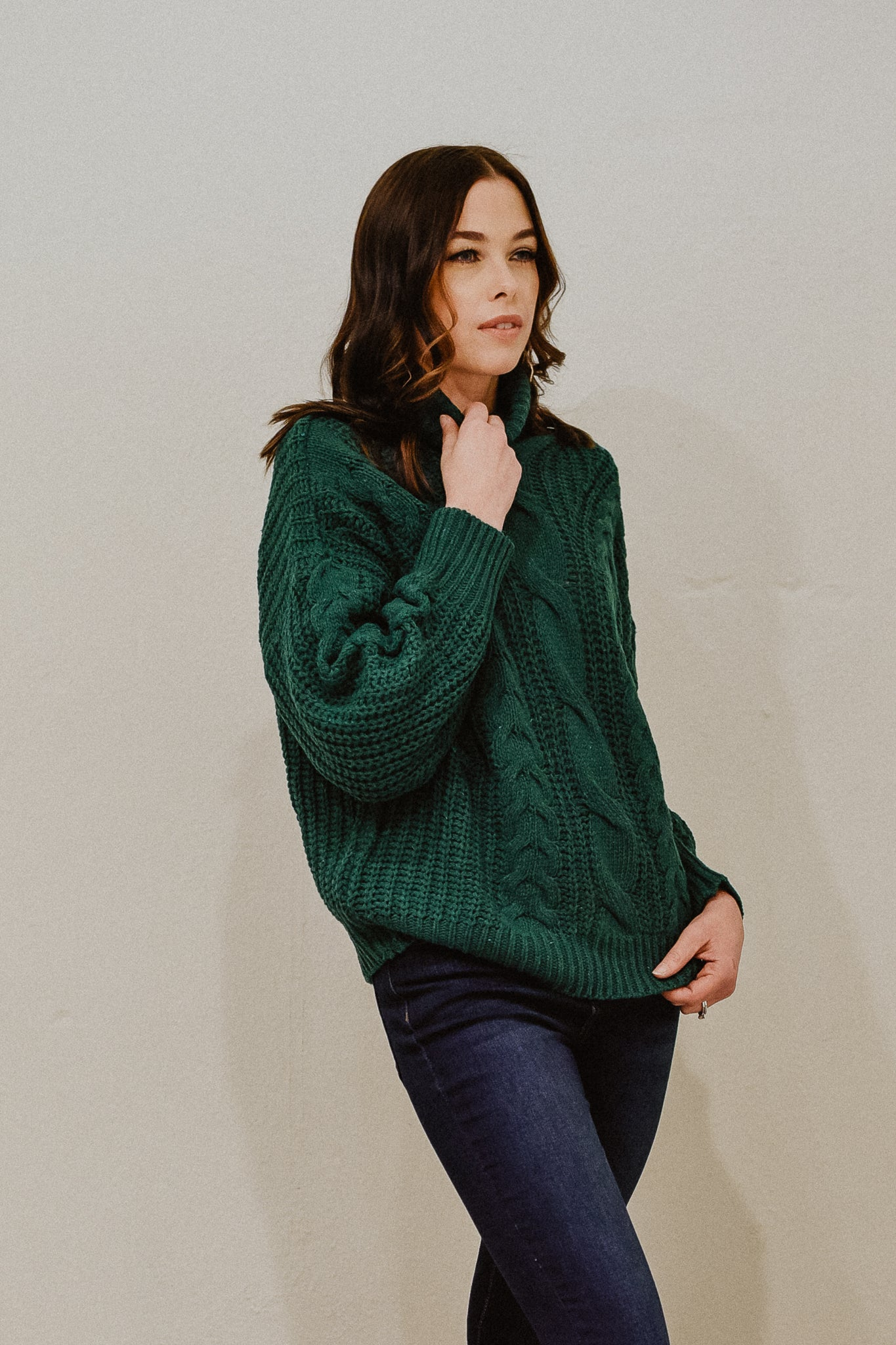 Cozy On Over Turtleneck Sweater in Hunter Green