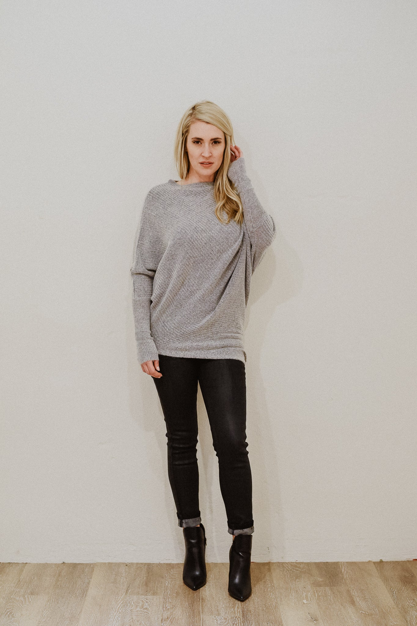 Say Something Sweet Asymmetrical Sweater Dress in Heather Grey / FINAL SALE