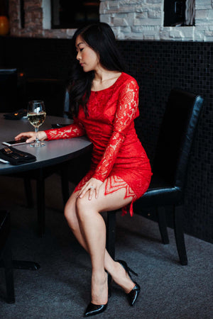 SOLD OUT / Yasmine Lace Bodycon Dress in Cherry