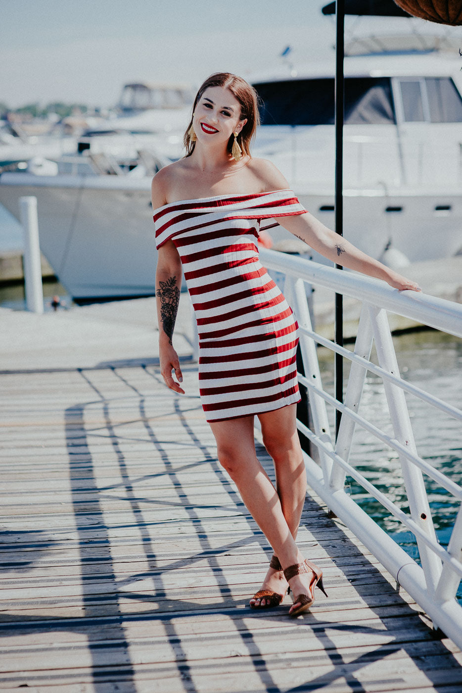 Adeli Striped Off The Shoulder Dress / FINAL SALE