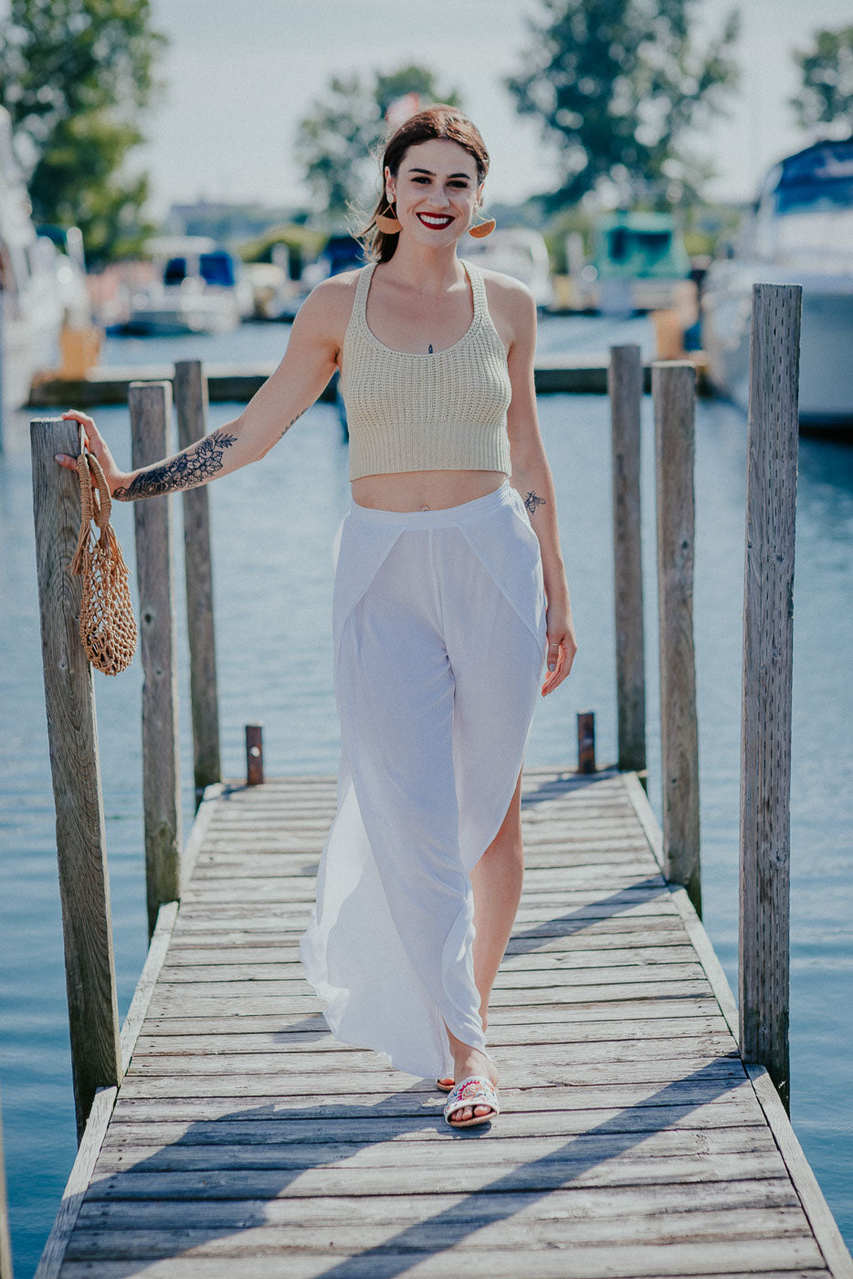 Sahara Knit Crop Top in Natural / FINAL SALE