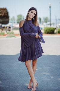 Pretty and Free Pleated Cold Shoulder Dress