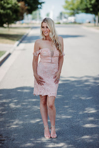 Vera Lace Dress in Coral