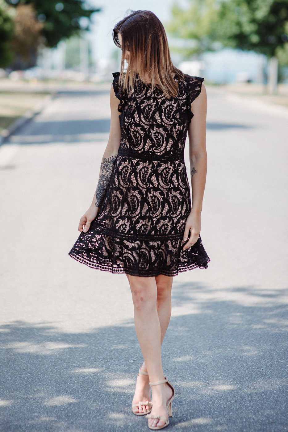 Bellissimo Ruffle Back Lace Dress in Black