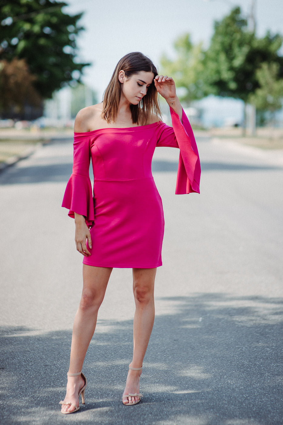 Tori Off The Shoulder Dress In Raspberry
