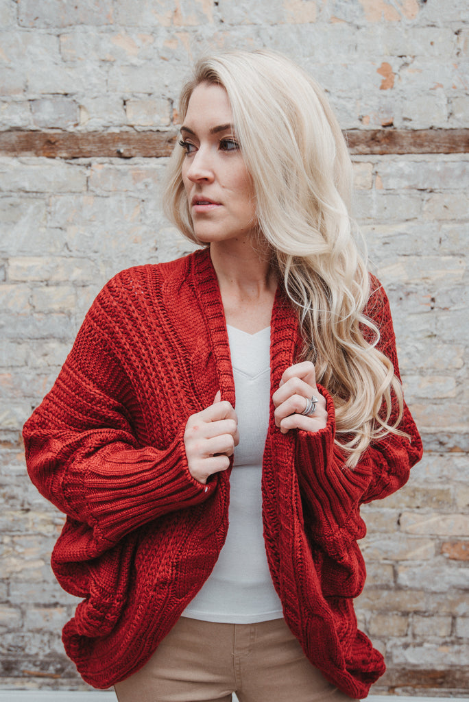 Nestled Up Cardigan in Cranberry Red