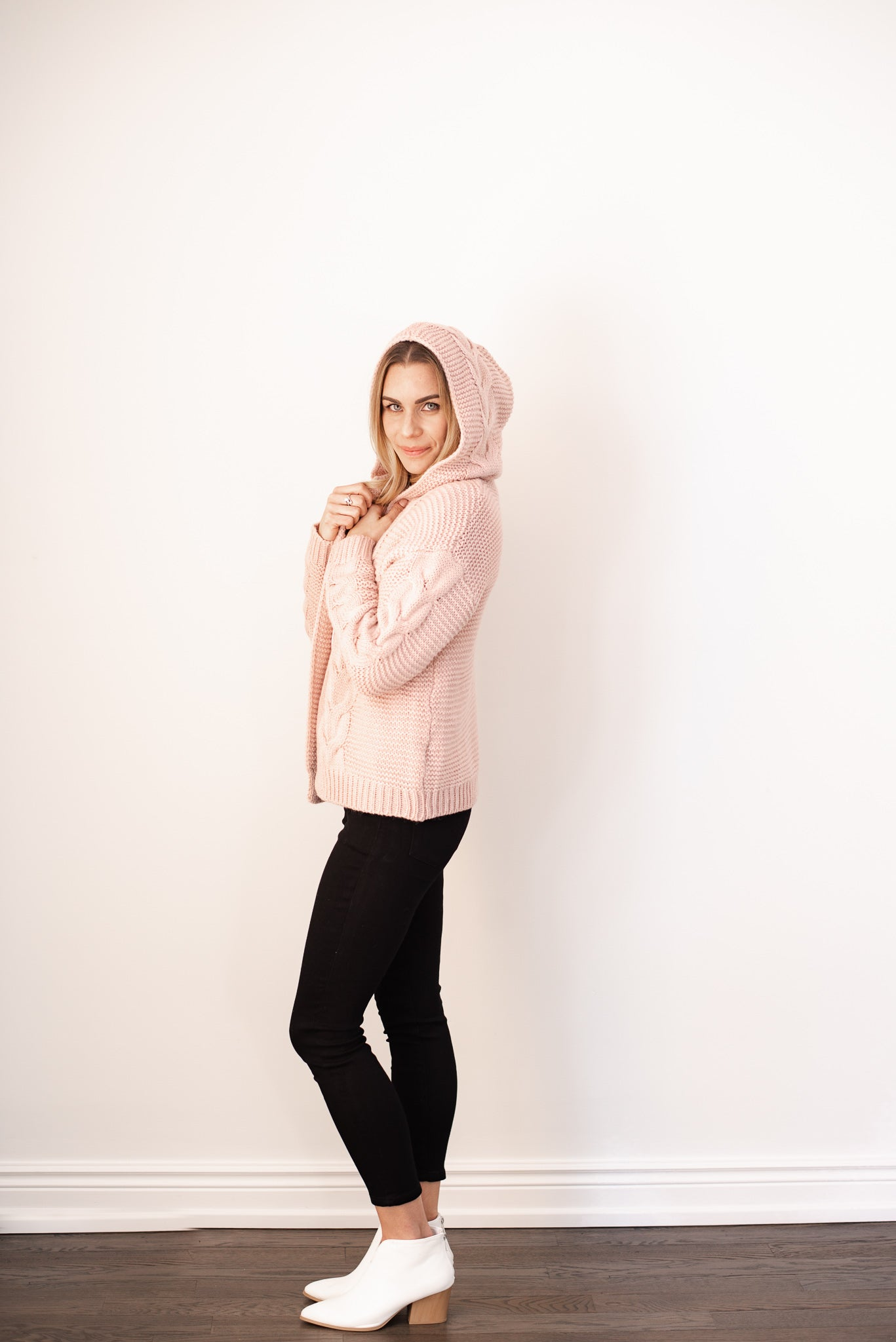 Heat Up My Heart Cable Knit Sweater in Dusty Pink / FINAL SALE