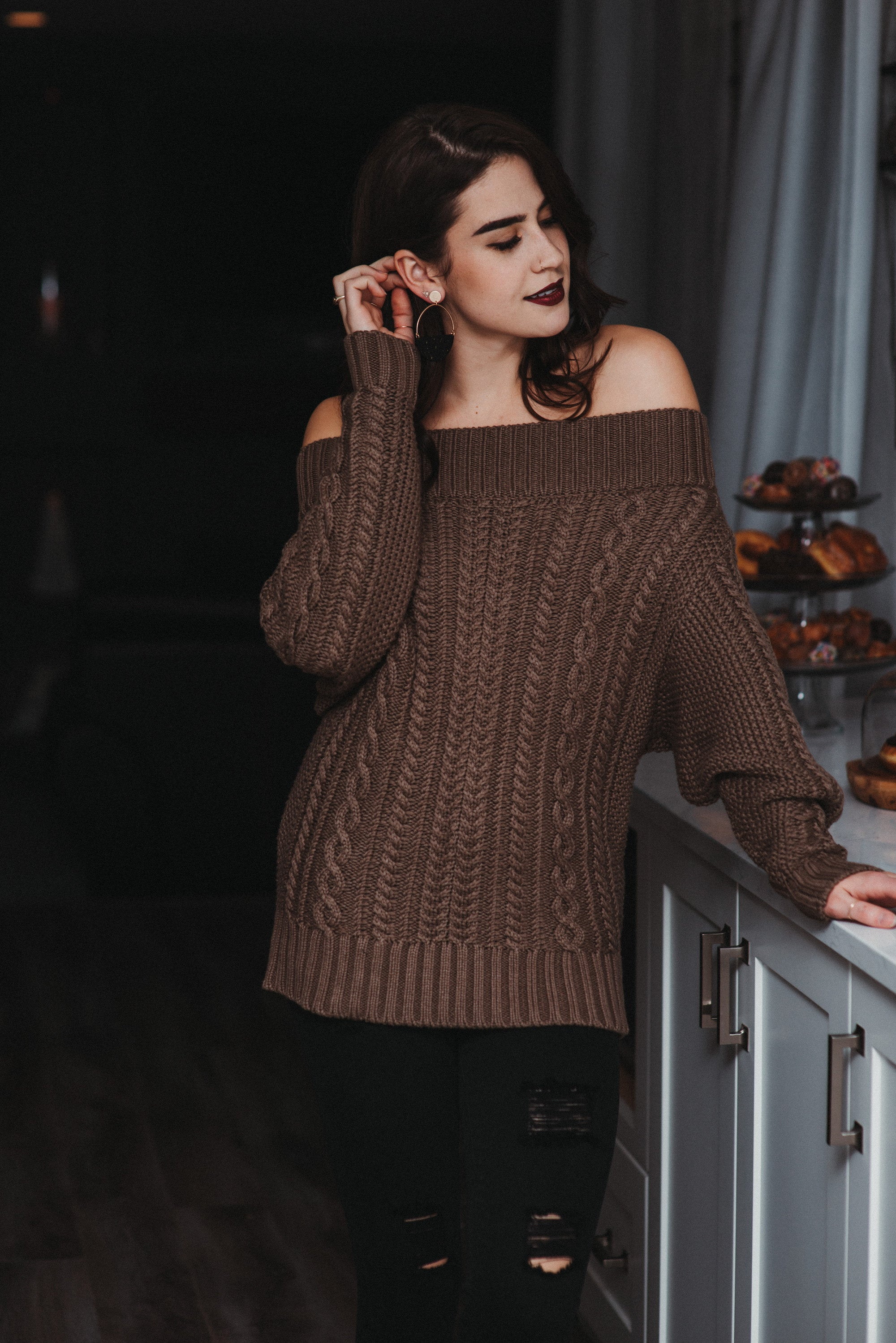 SOLD OUT / Home for the Holidays Off the Shoulder Cable Knit Sweater Dress