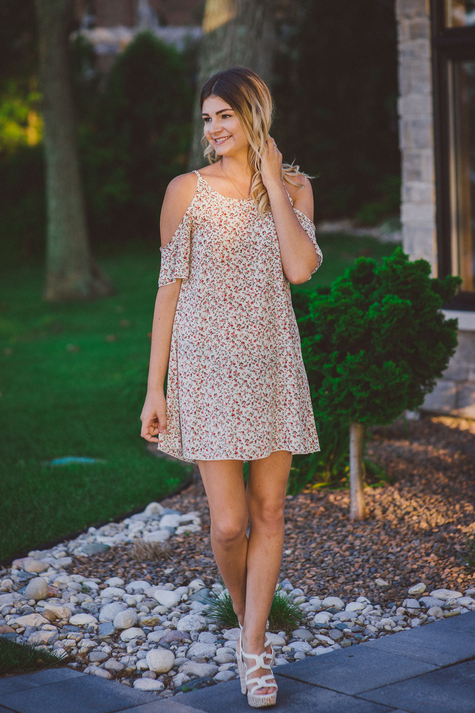 Flower Power Cold Shoulder Dress