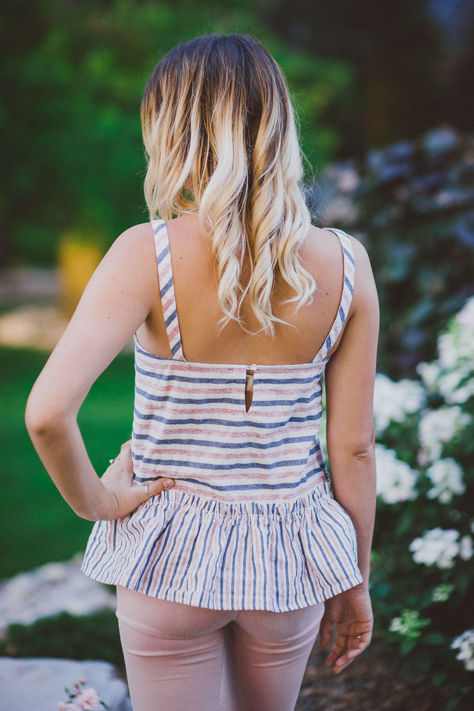 Cotton Candy Striped Peplum Tank Top / FINAL SALE
