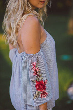 For the Roses Appliqué Cold Shoulder Top