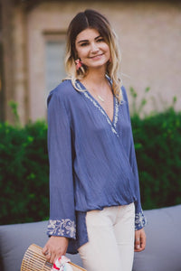 Bryana Embroidered Drape Top