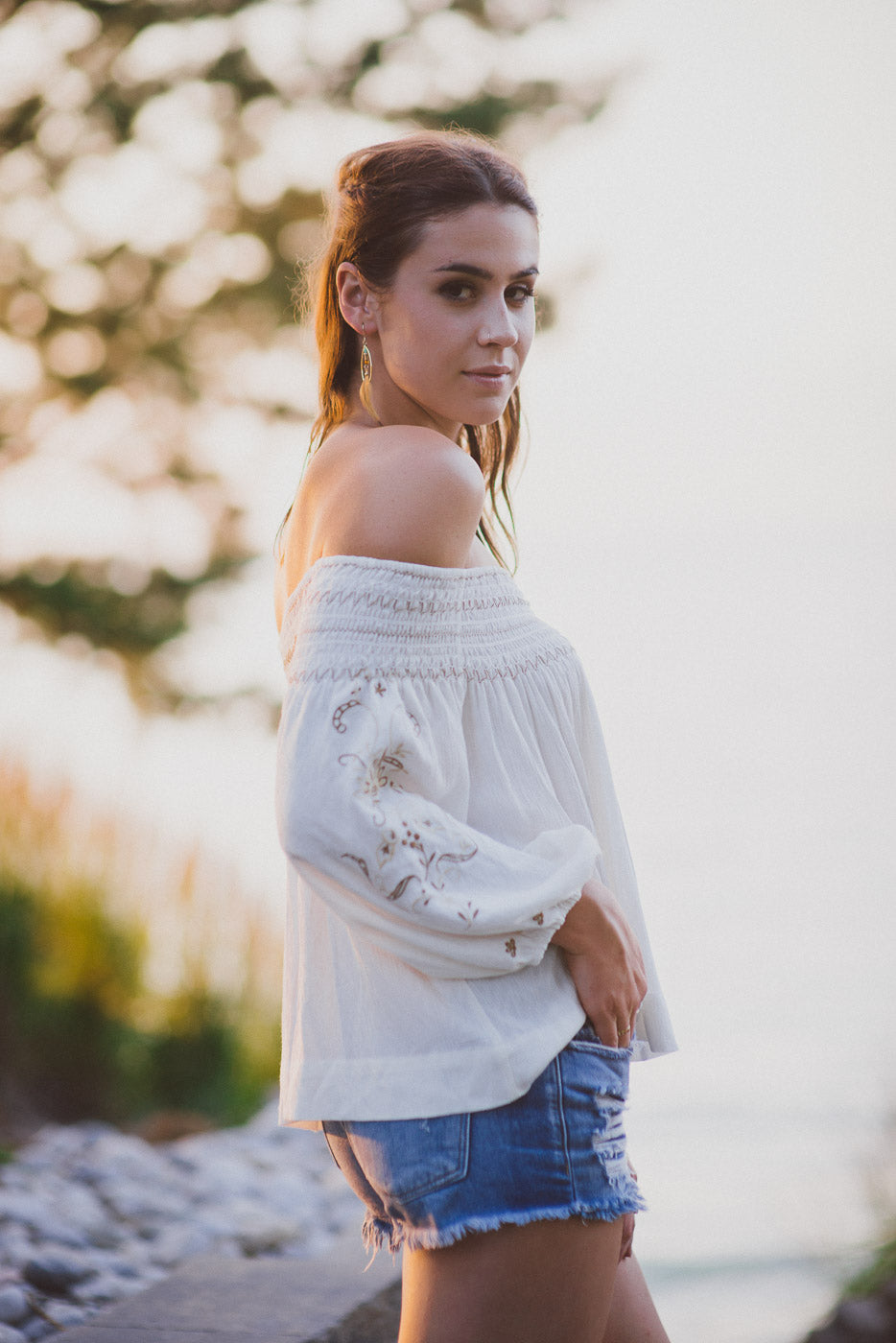 Keemala Embroidered Off The Shoulder Top