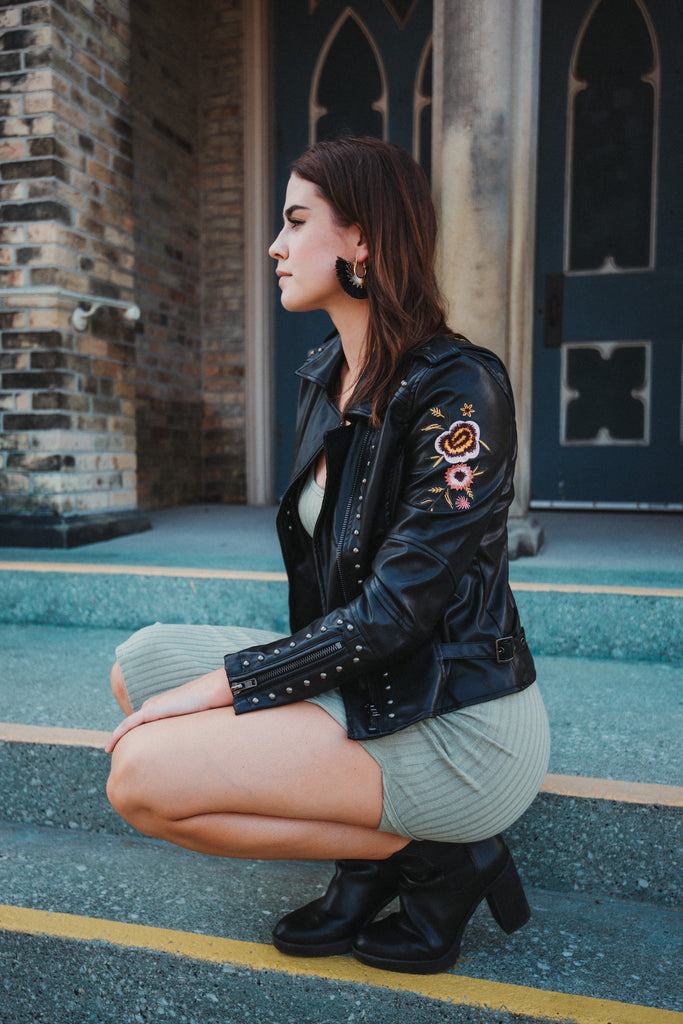 Corwin Embroidered Biker Jacket / FINAL SALE