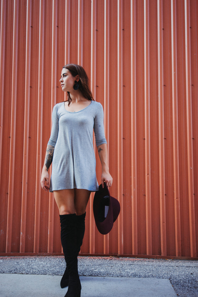 SOLD OUT / Only the Essentials Mini Dress in Grey