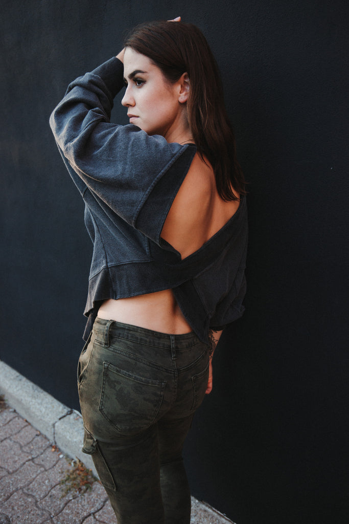 In The Clouds Open Back Sweater in Charcoal