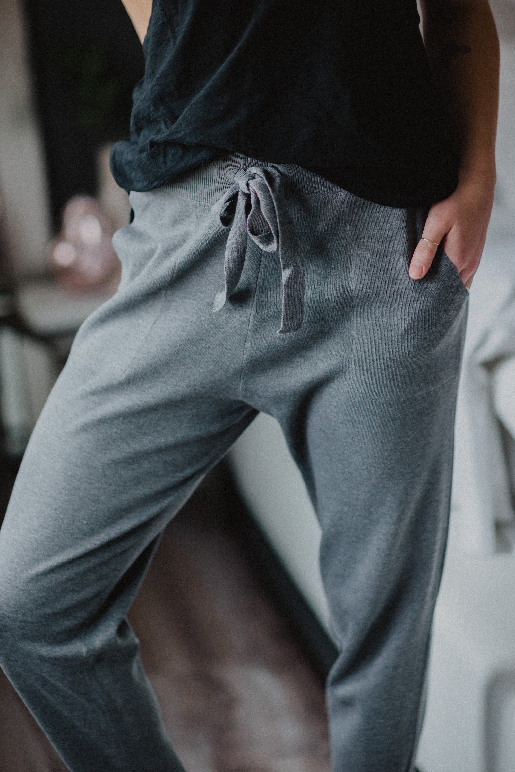Feelin' Alright Knitted Joggers in Grey / FINAL SALE