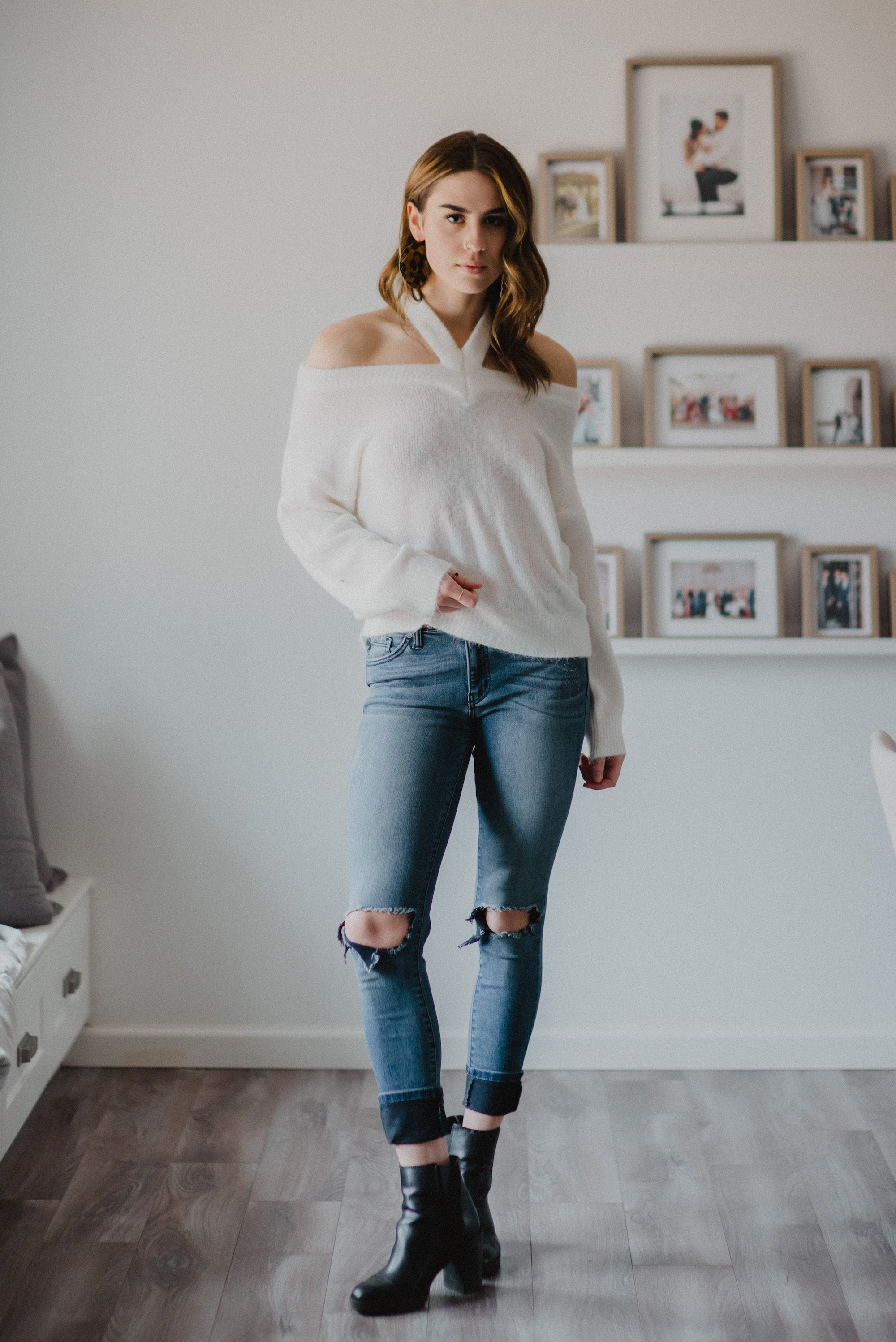 Winter White Off the Shoulder Sweater