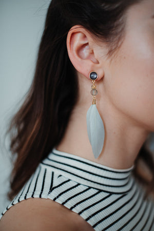 Watch Me Fly Feather Earrings in Grey