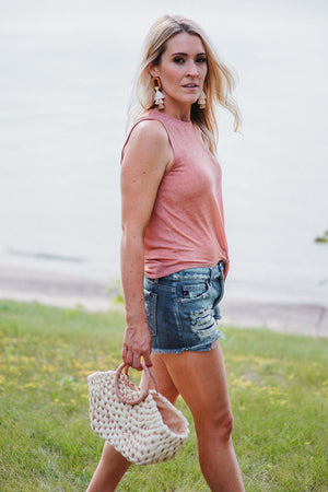 Karalyn Tie Tank in Coral