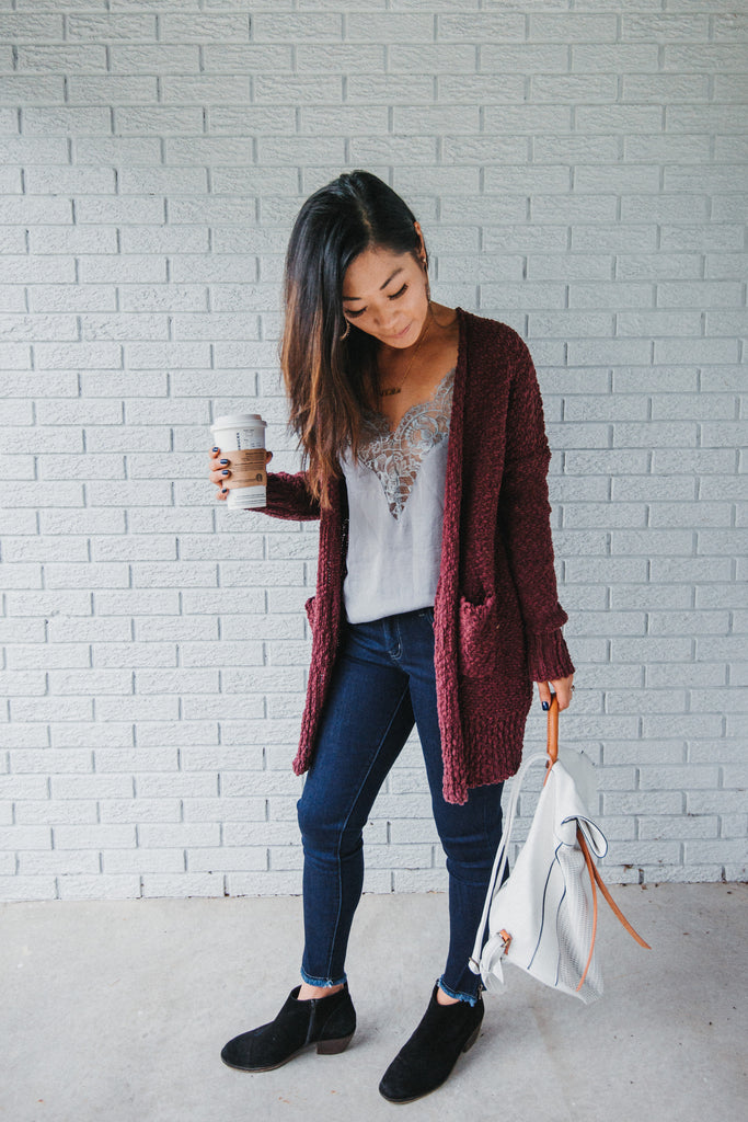 SOLD OUT / Quincy Knit Open Cardigan in Burgundy
