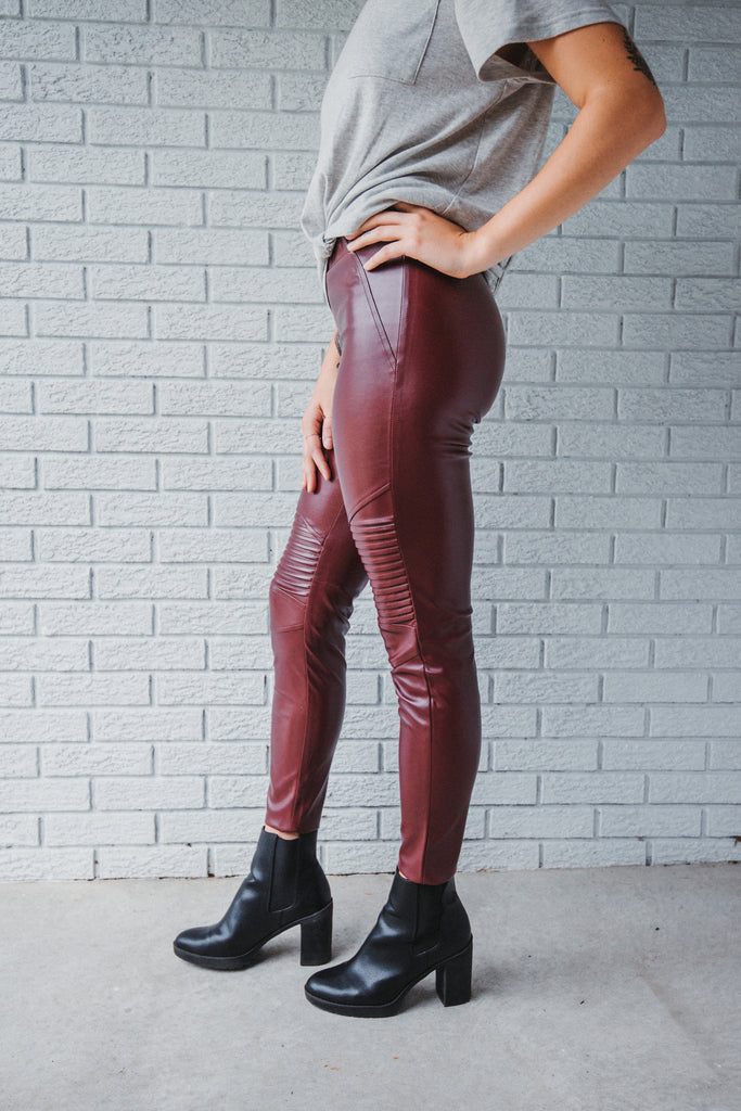 SOLD OUT / Hand Me a Bottle Pleather Moto Leggings in Wine