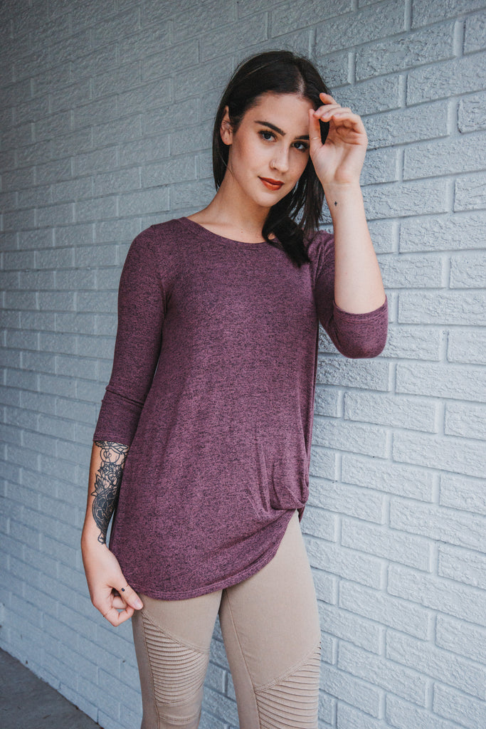 SOLD OUT / Harper Knot Knit Top in Dark Rose