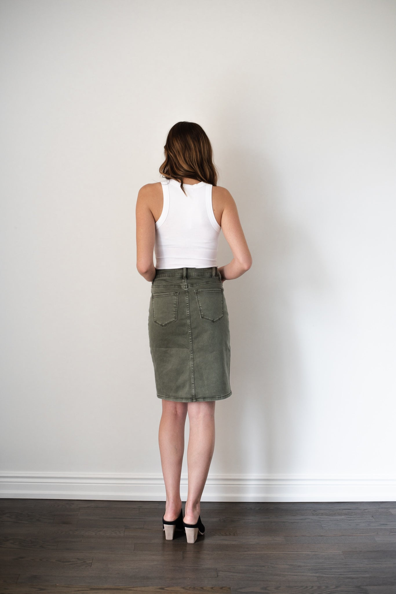 Pencil Me In Denim Midi Skirt