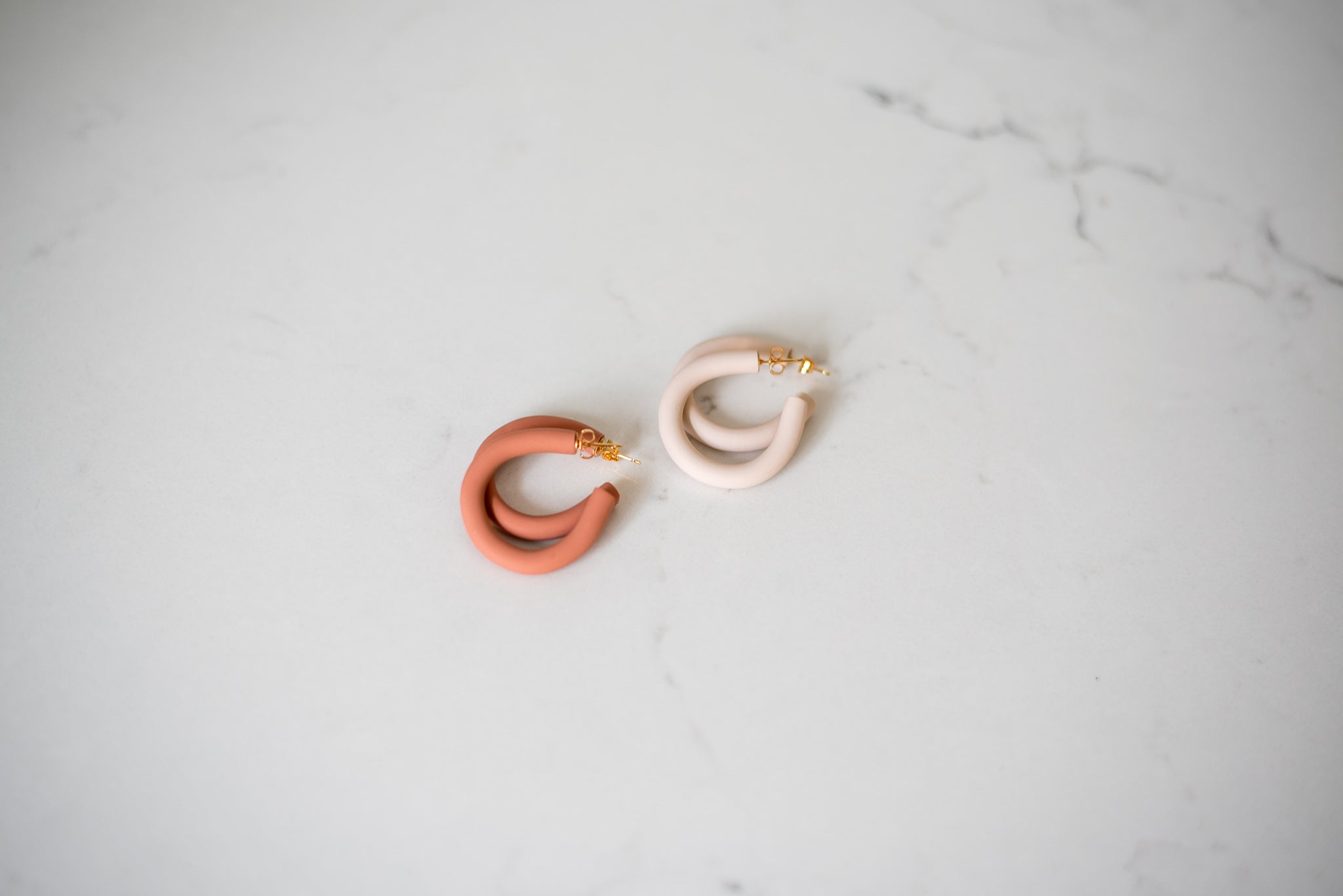Spring Fever Clay Hoop Earrings in Linen