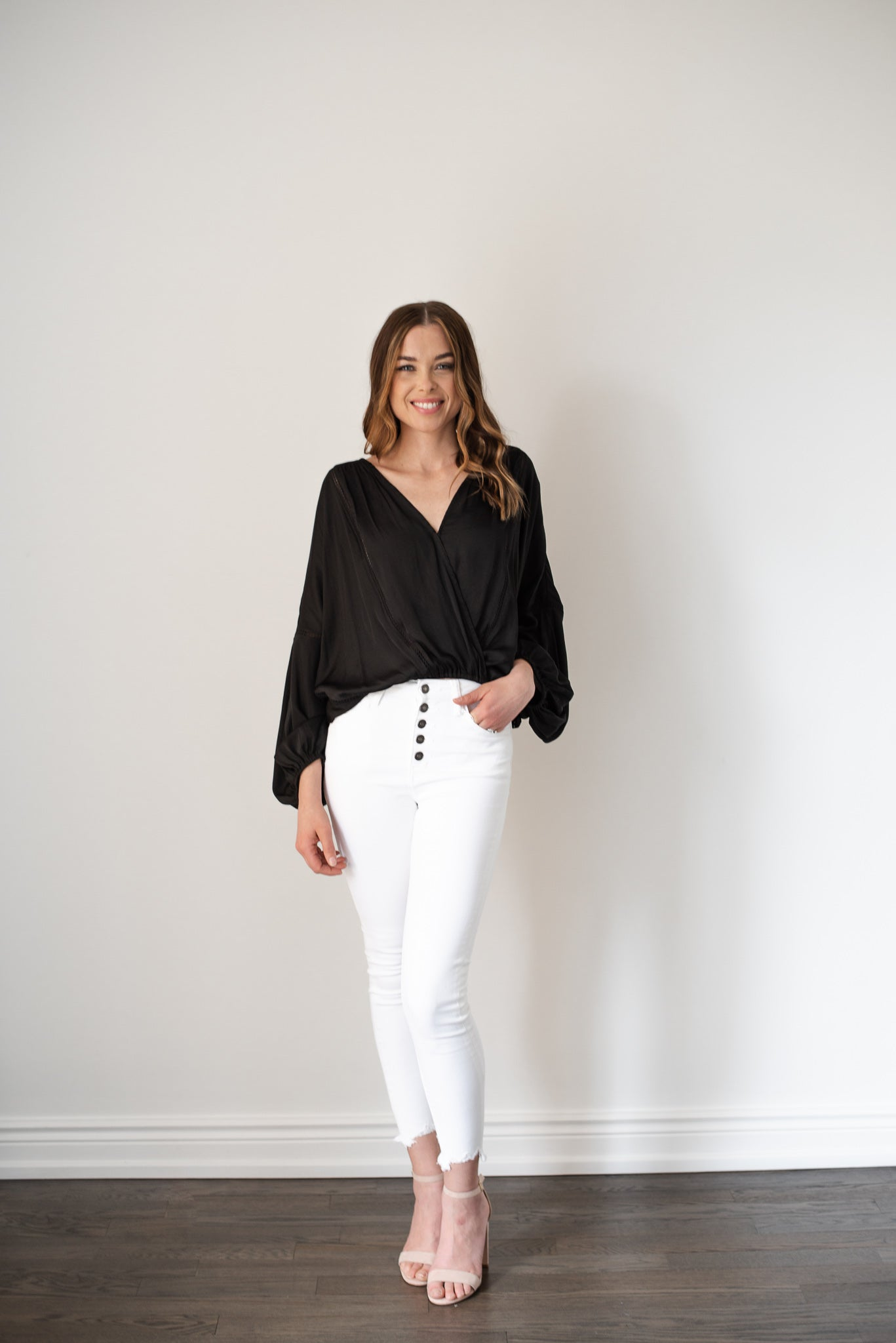 Eternal Fall Cropped Surplice Top in Black