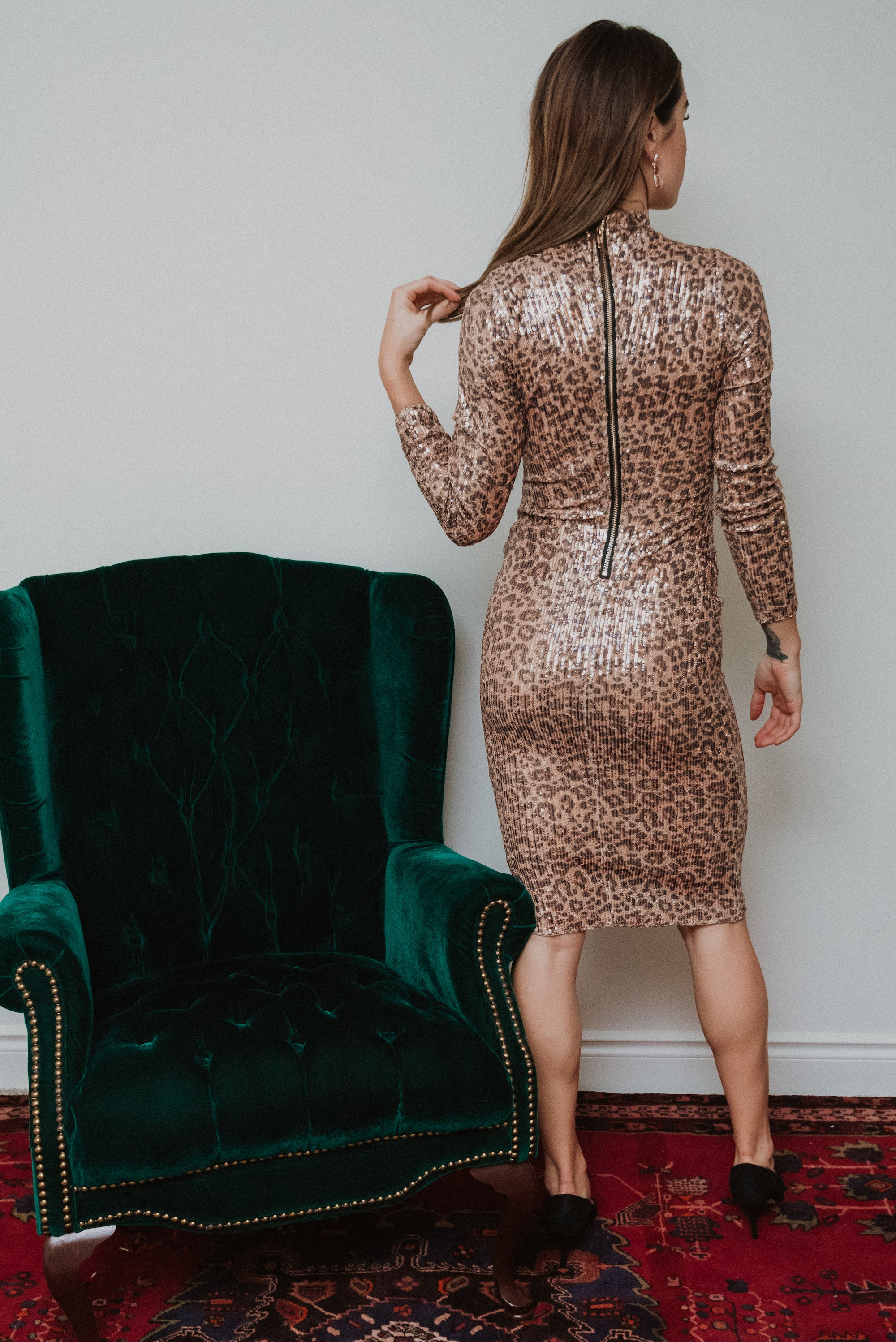 Sparkle and Shine Leopard Sequin Dress