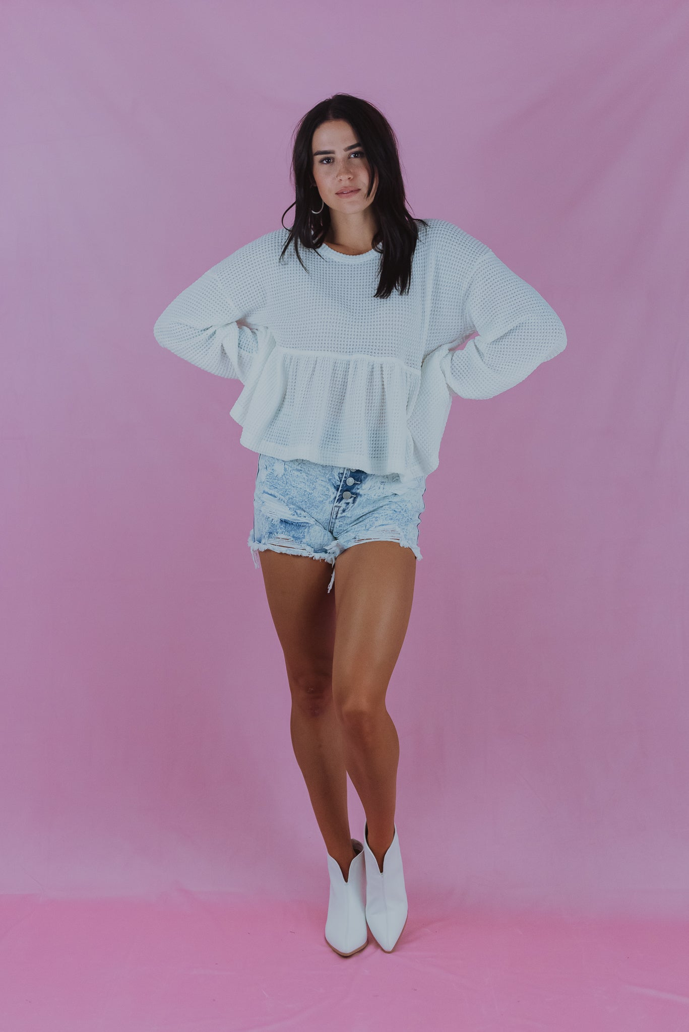 Foggy Days Waffle Knit Top in White