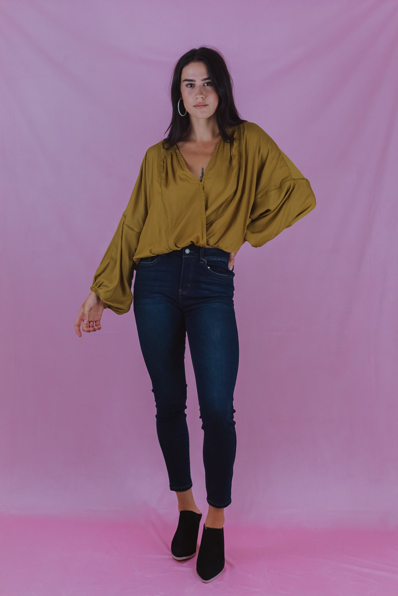 Eternal Fall Cropped Surplice Top in Gold / FINAL SALE