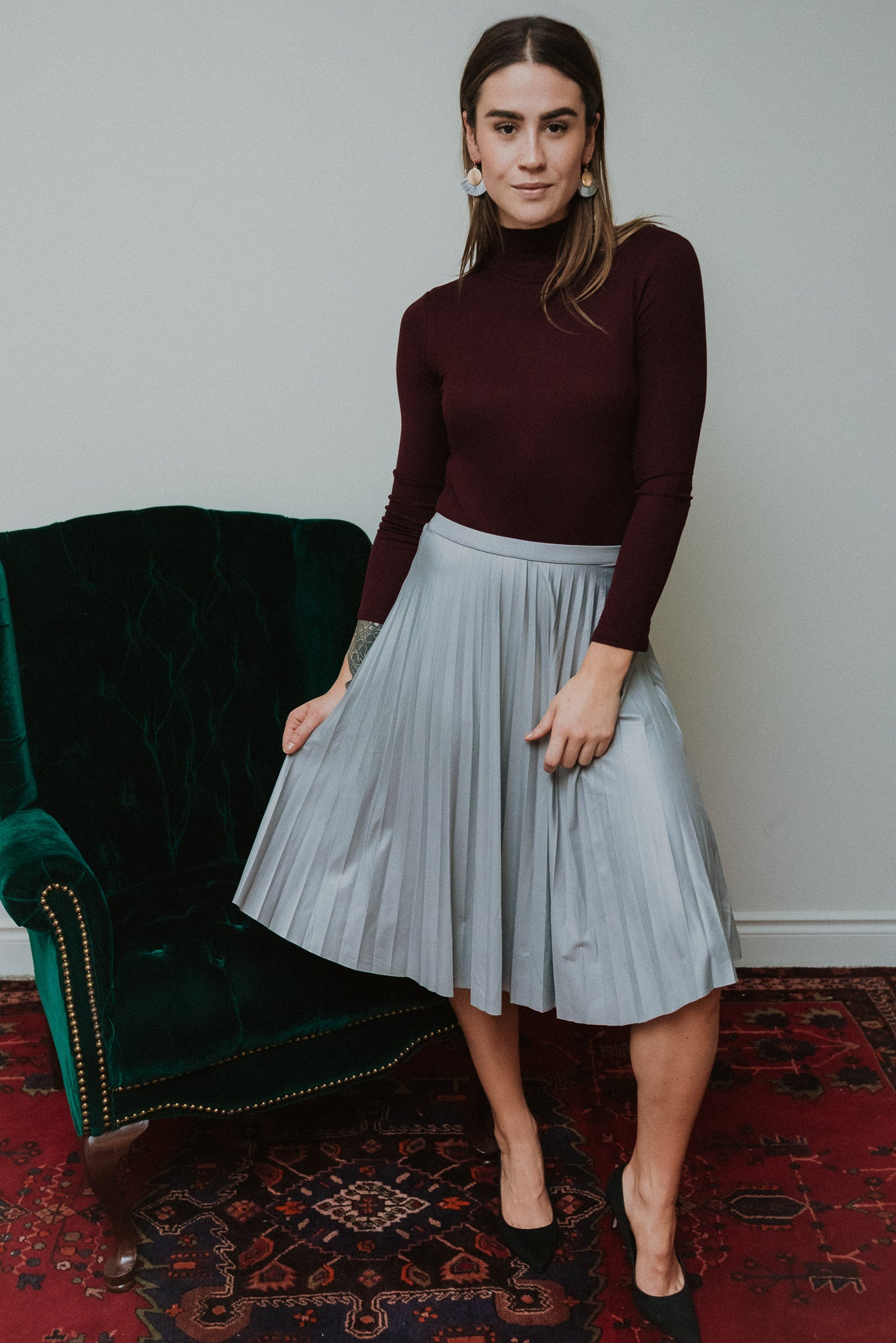 Snowy Night Pleated Skirt / FINAL SALE