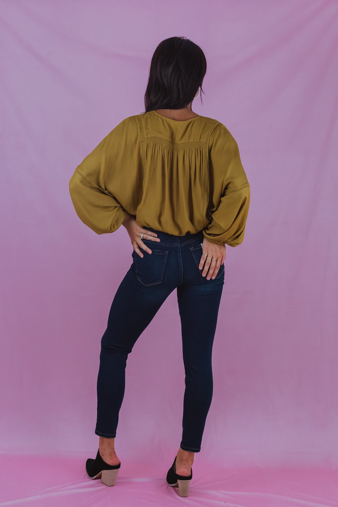 Eternal Fall Cropped Surplice Top in Gold