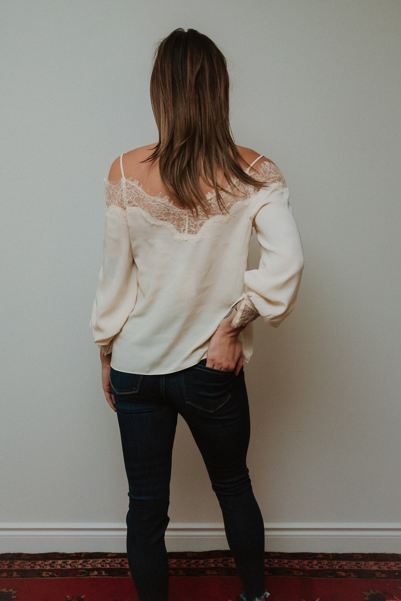 •sold out• Ring the Bells Cold Shoulder Top in Off White