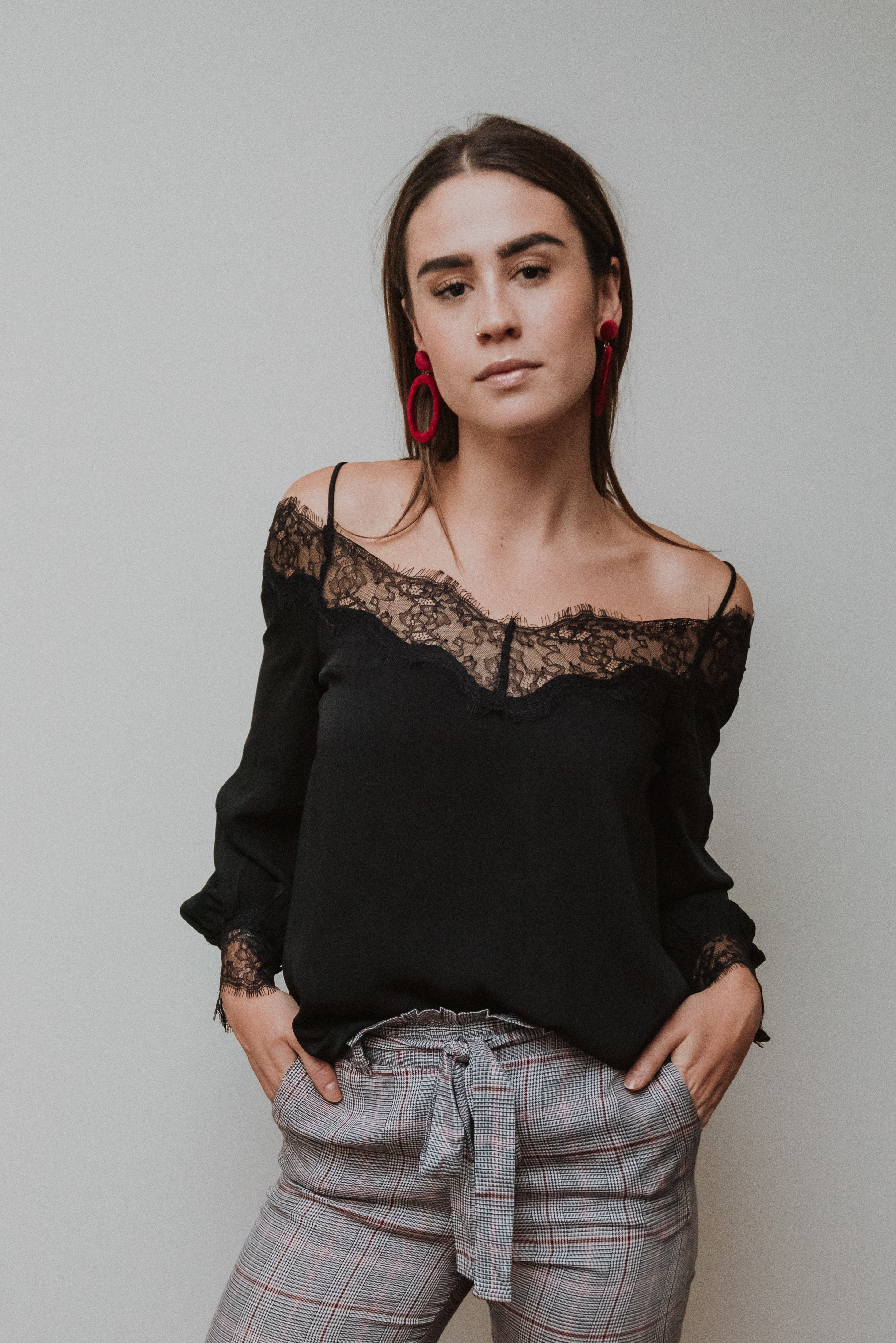 Ring the Bells Cold Shoulder Top in Black