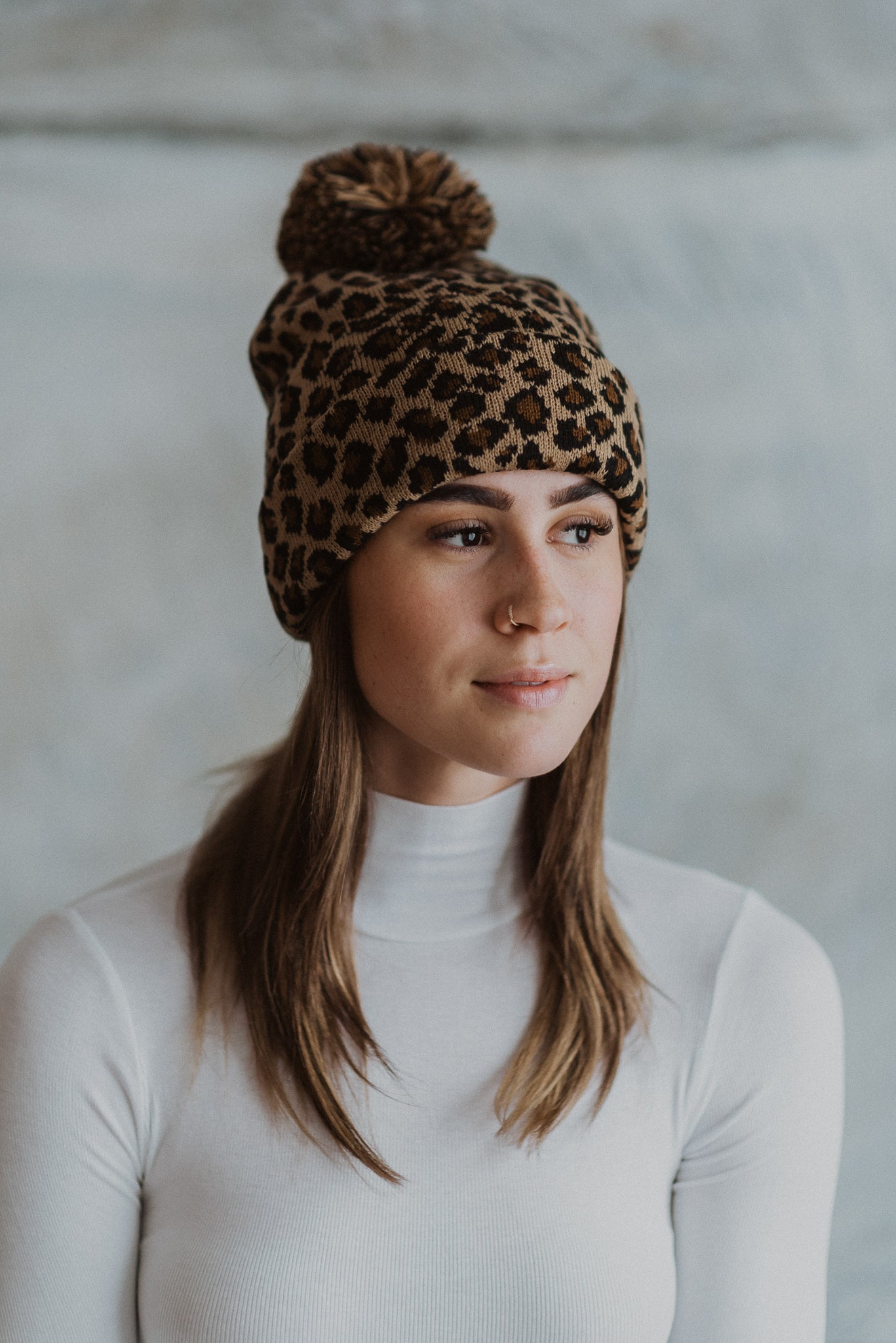 Winter Nights Leopard Pom Toque