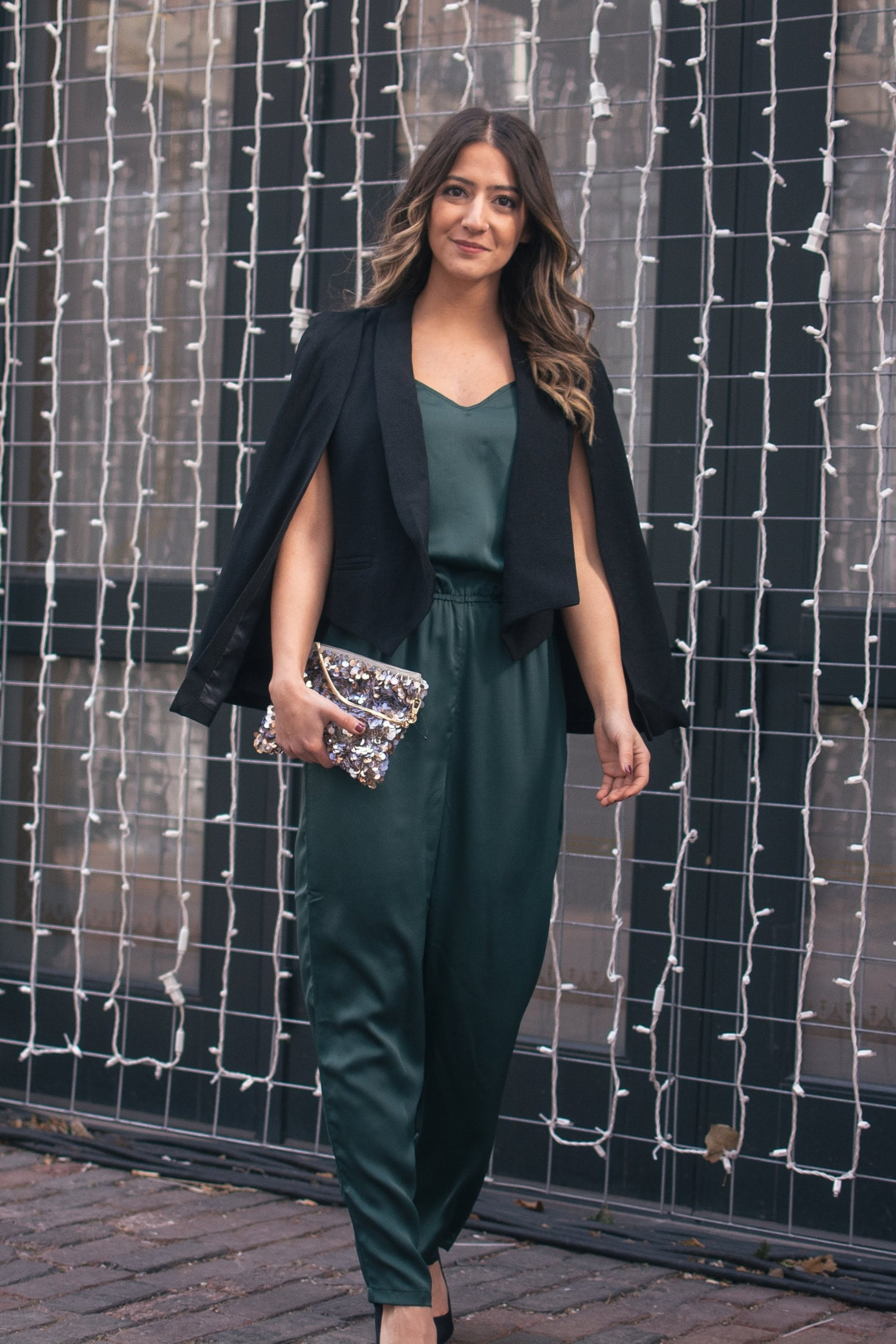 The Niki Satin Jumpsuit in Hunter Green / FINAL SALE