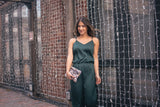 The Niki Satin Jumpsuit in Hunter Green