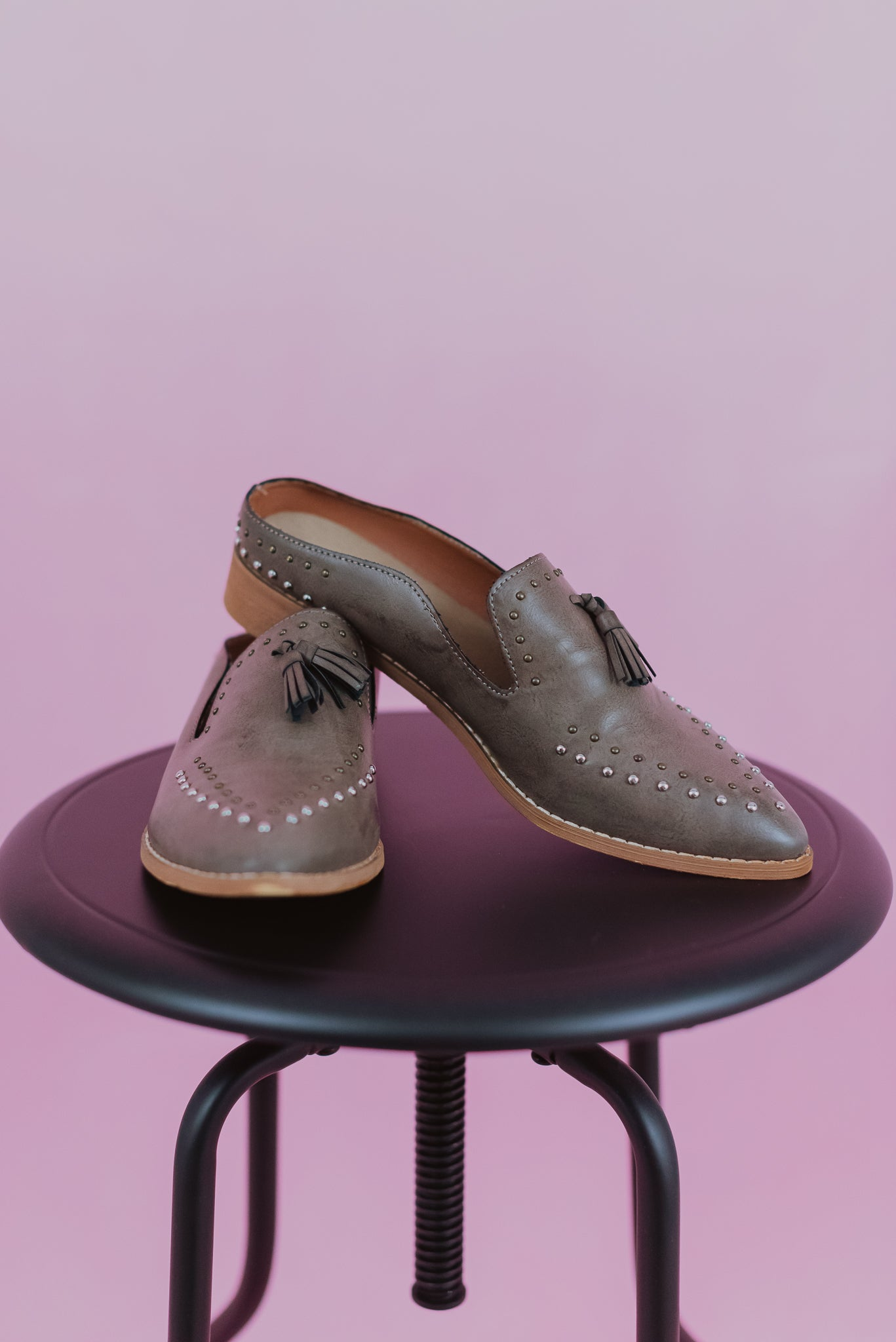 Adline Studded Tassel Loafer in Grey