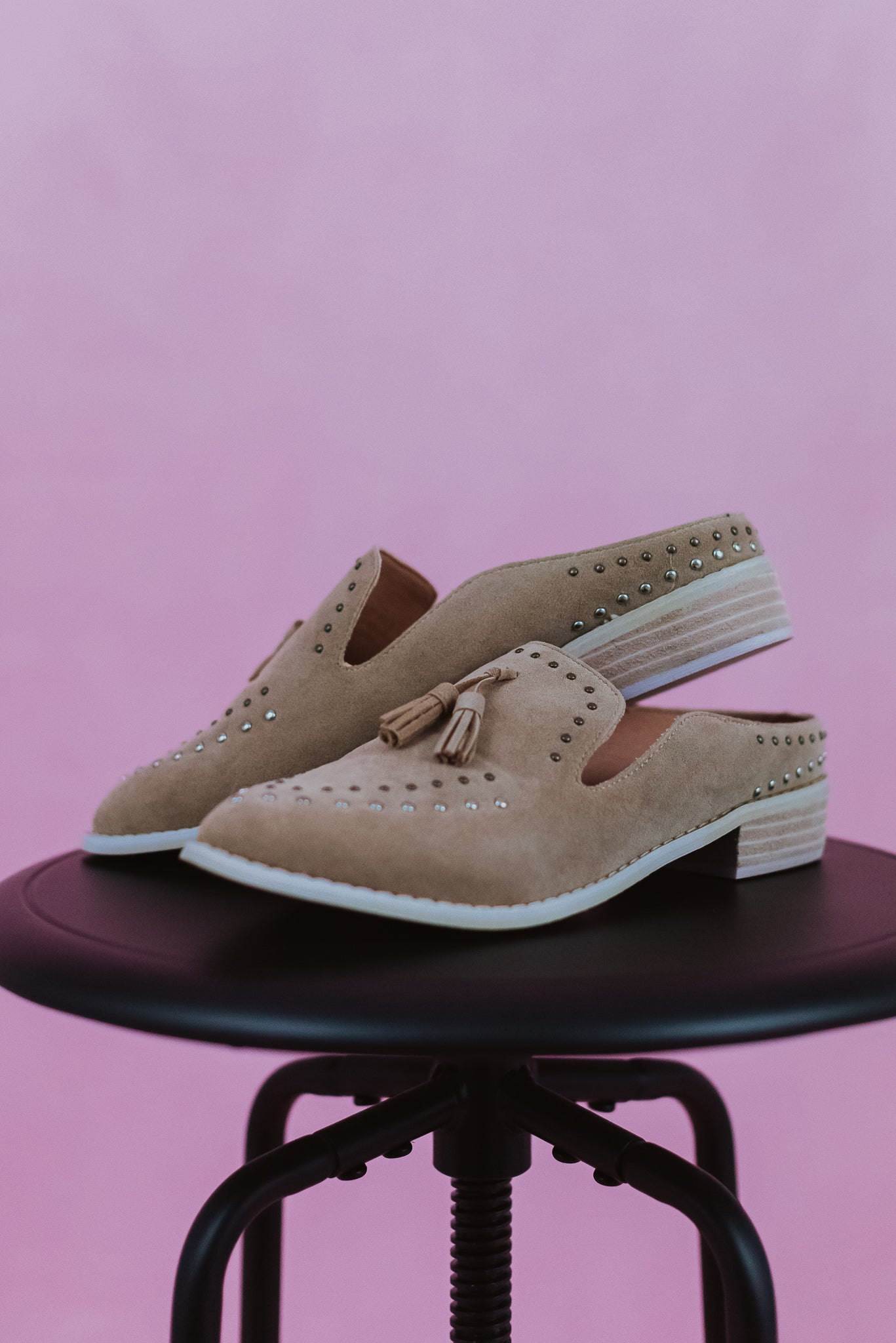 Adline Studded Tassel Loafer in Almond