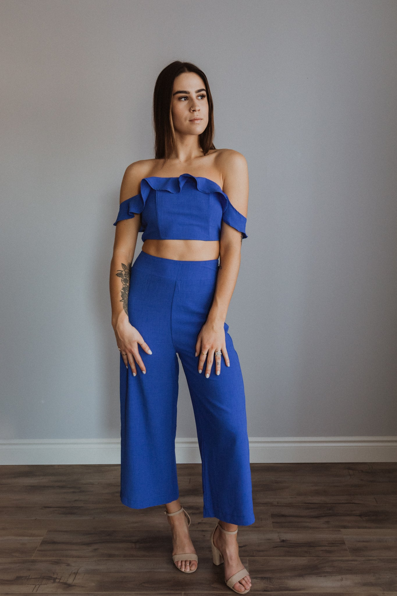 Those Ocean Eyes Crop Top and Pants Set