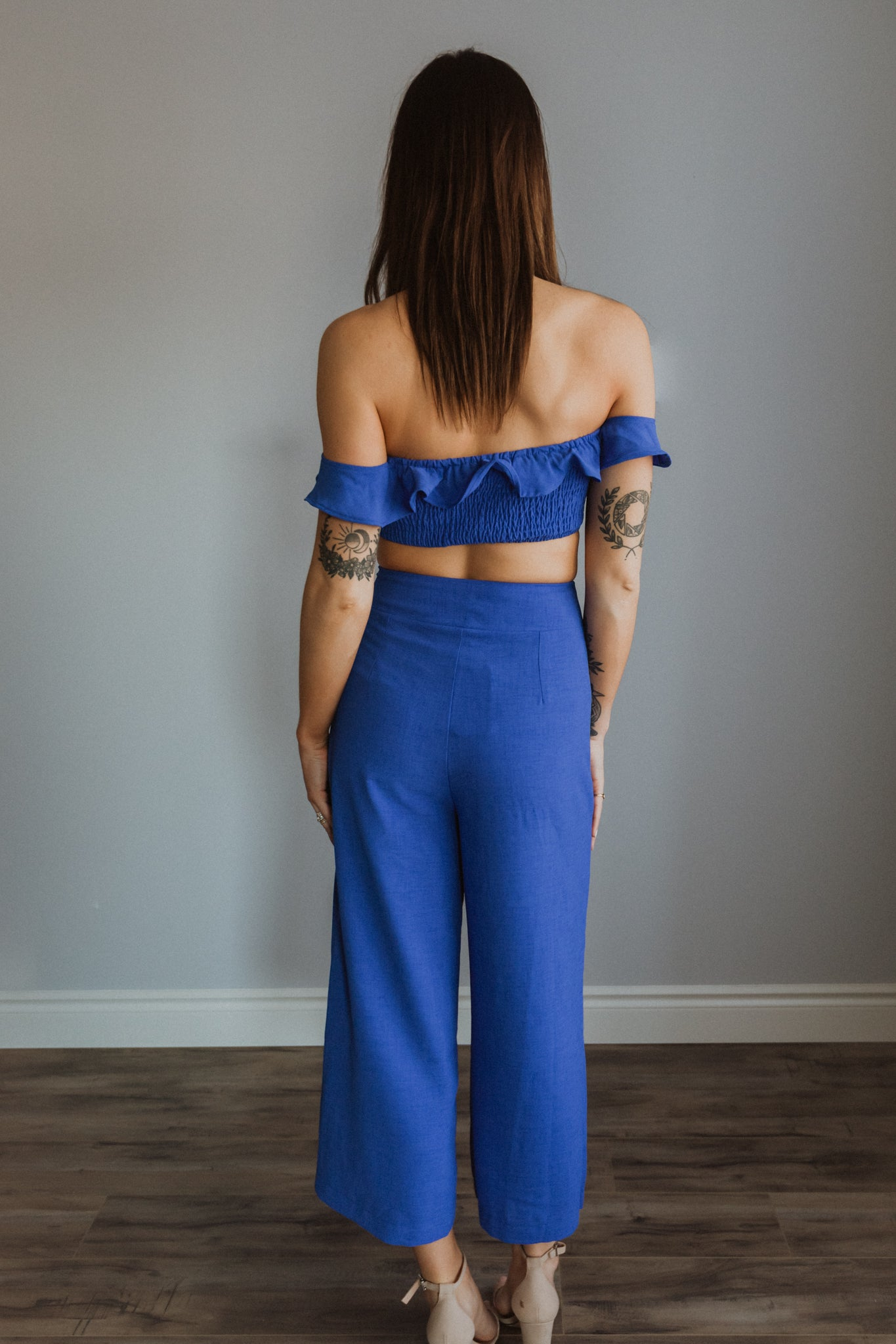 Those Ocean Eyes Crop Top and Pants Set / FINAL SALE