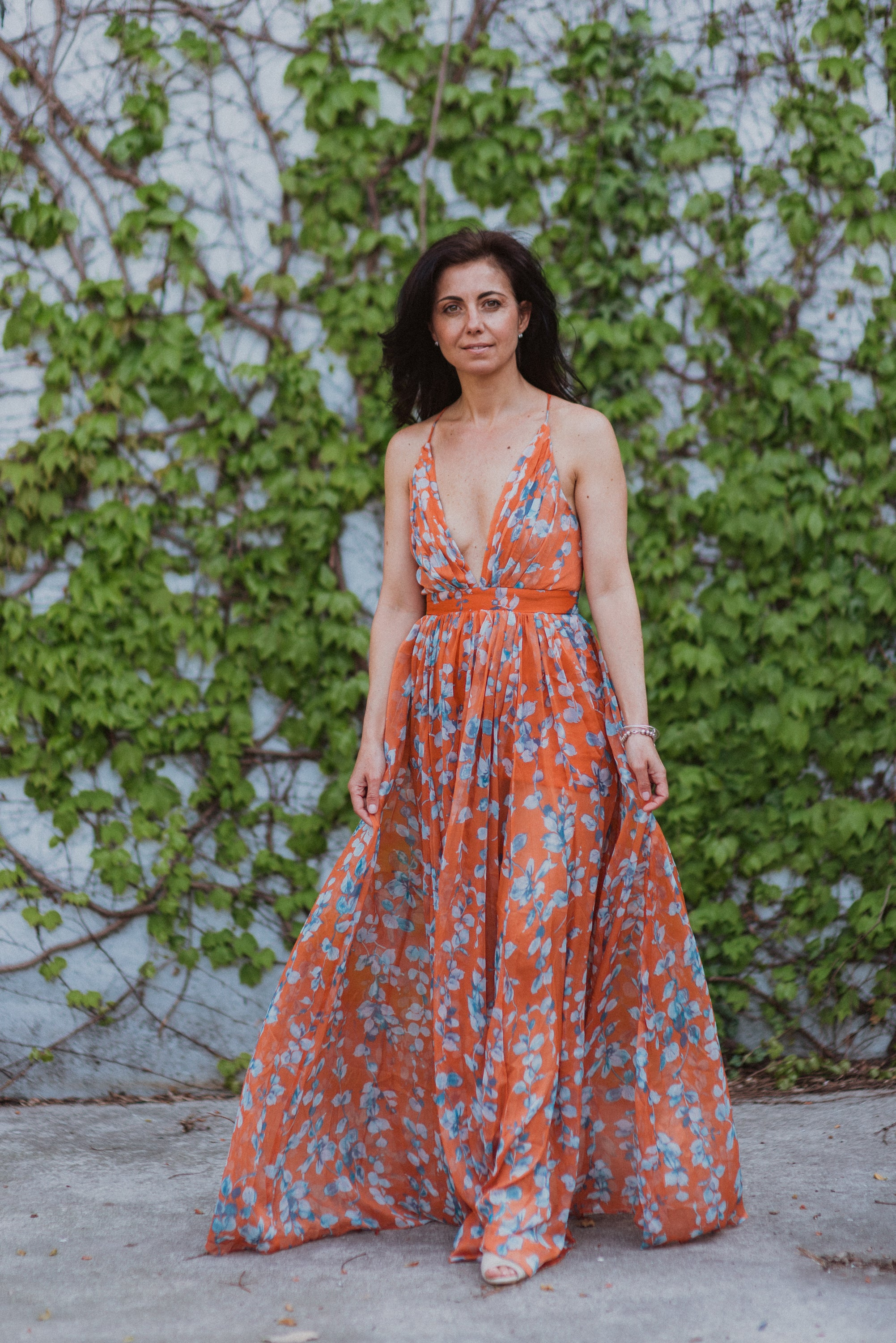 Orange Crush Floral Maxi Dress