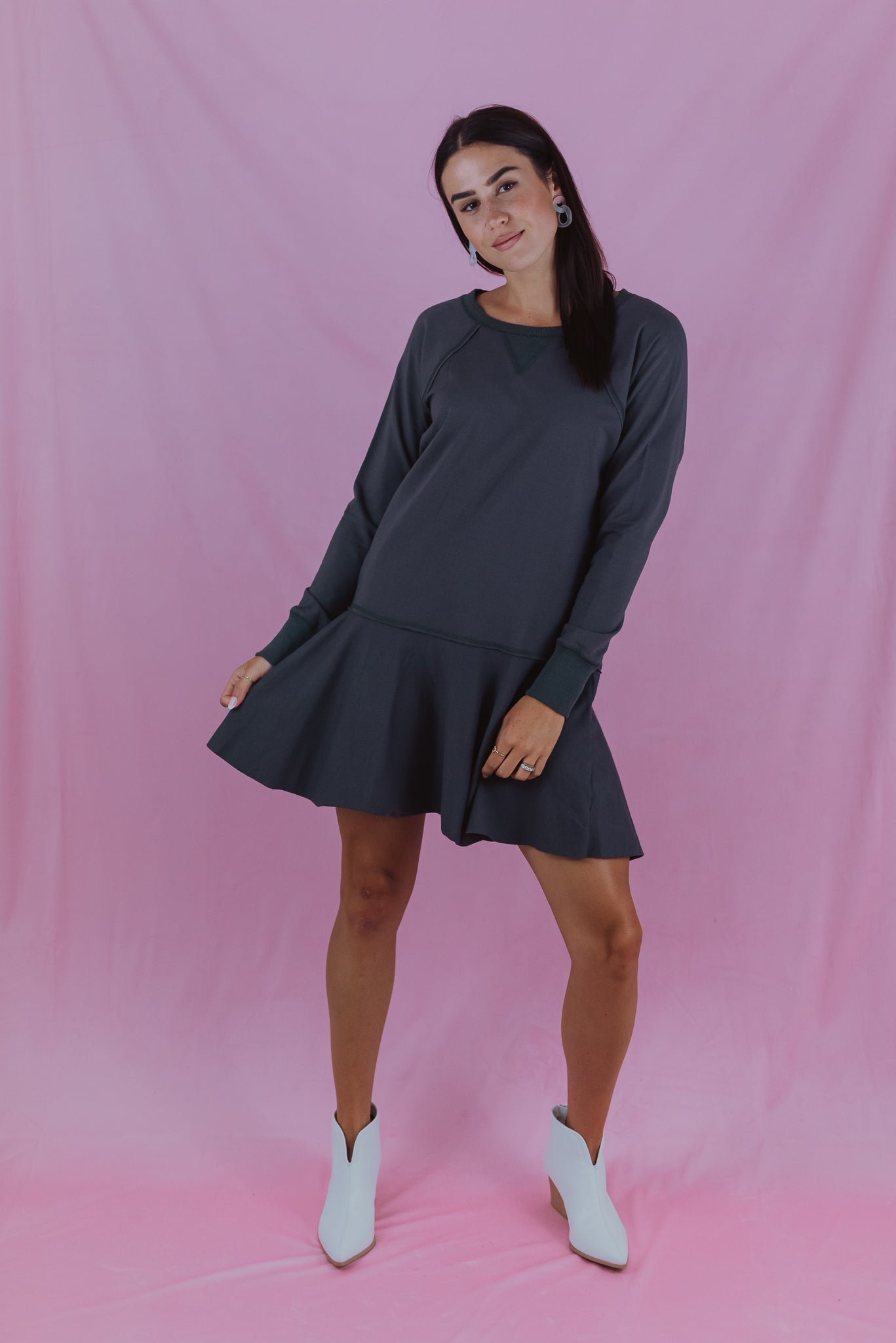 Humble Pie Raglan Long Sleeve Tie Back Dress