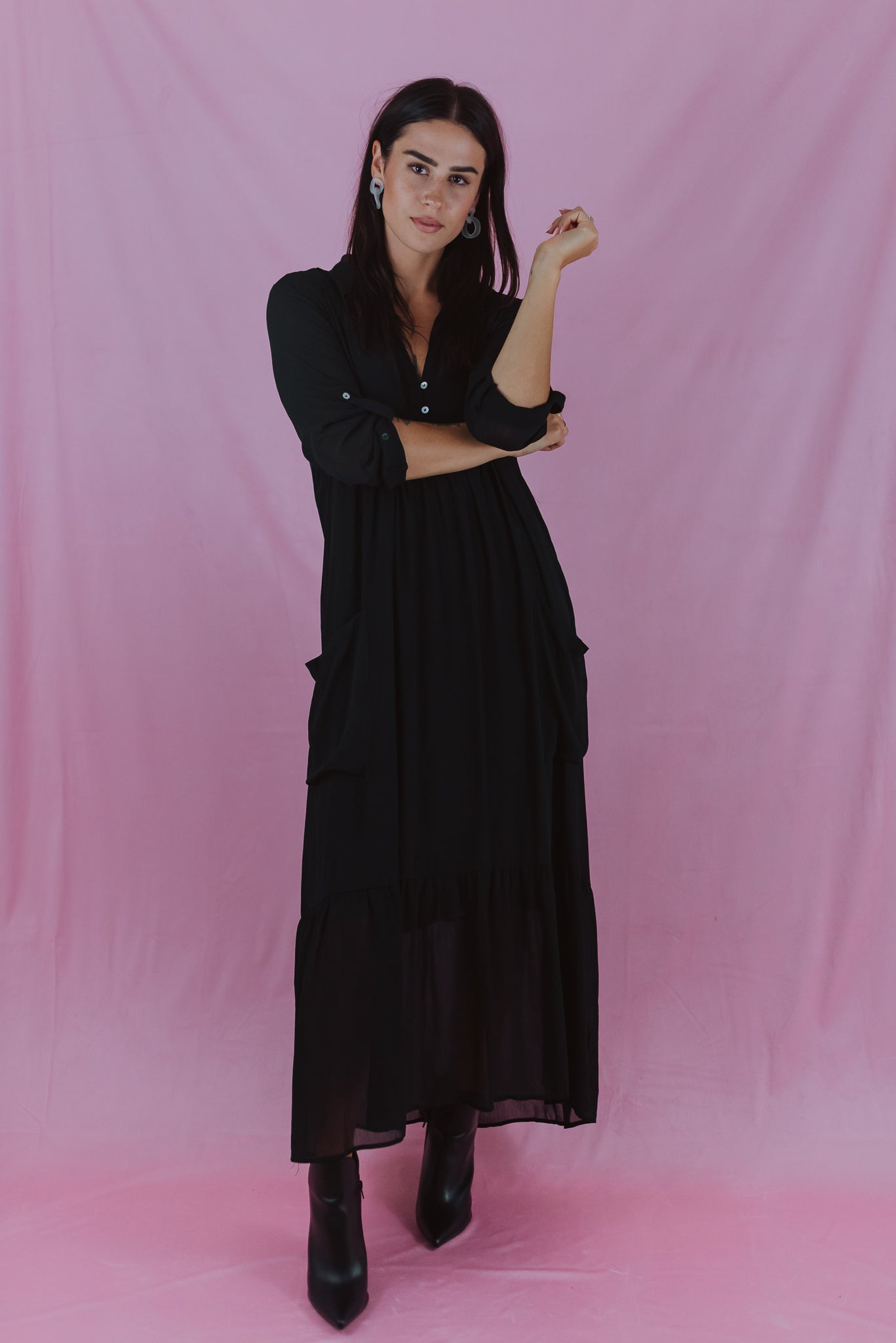 Through the Orchard Maxi Shirt Dress in Black