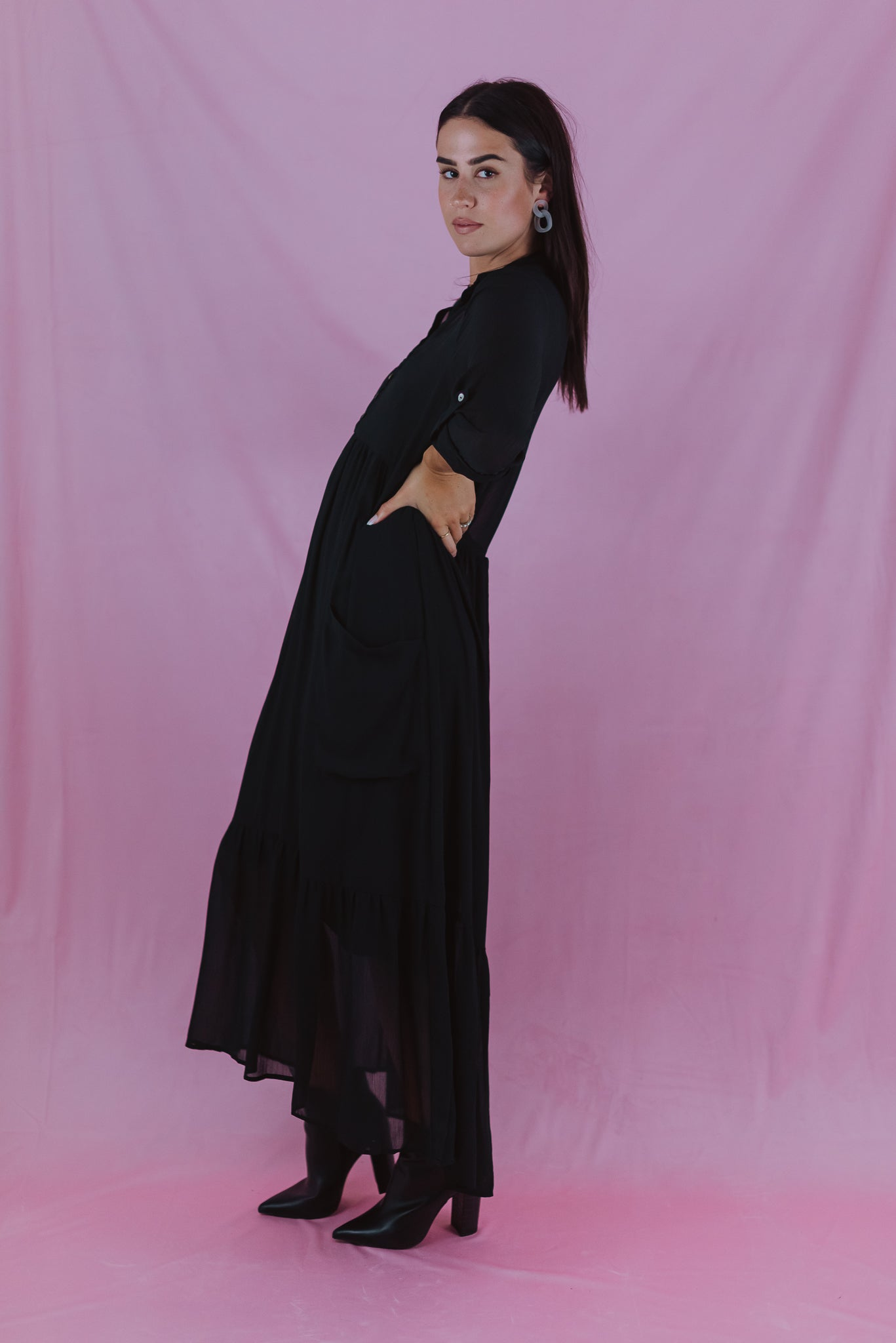 •sold out• Through the Orchard Maxi Shirt Dress in Black