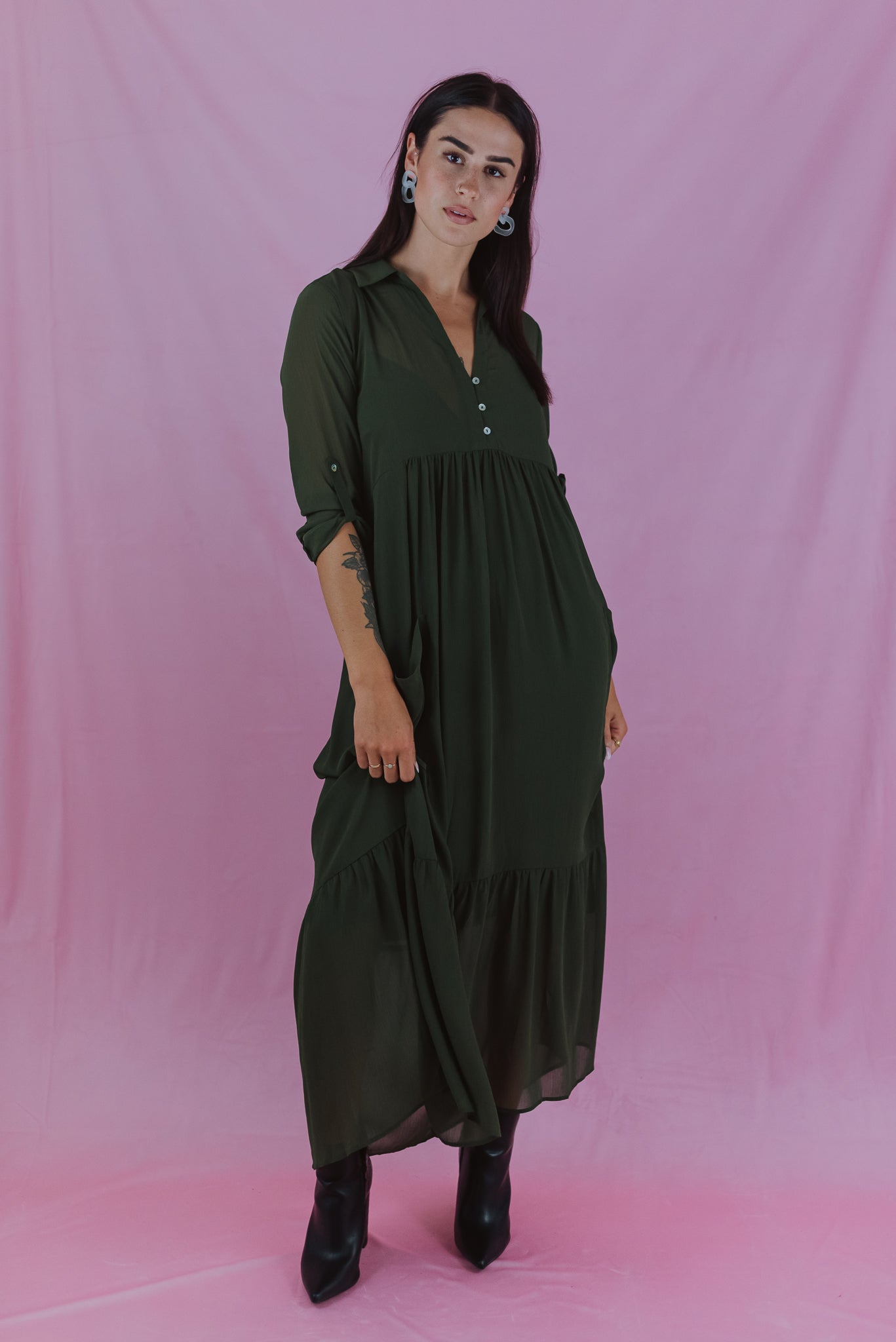 Through the Orchard Maxi Shirt Dress in Olive